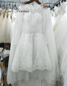 Image 4 - Beautiful Pearls beading 2 IN 1 A line Wedding Dress 2020 Detachable Skirt Long Sleeve Illusion Lace Wedding Dresses W0278 B