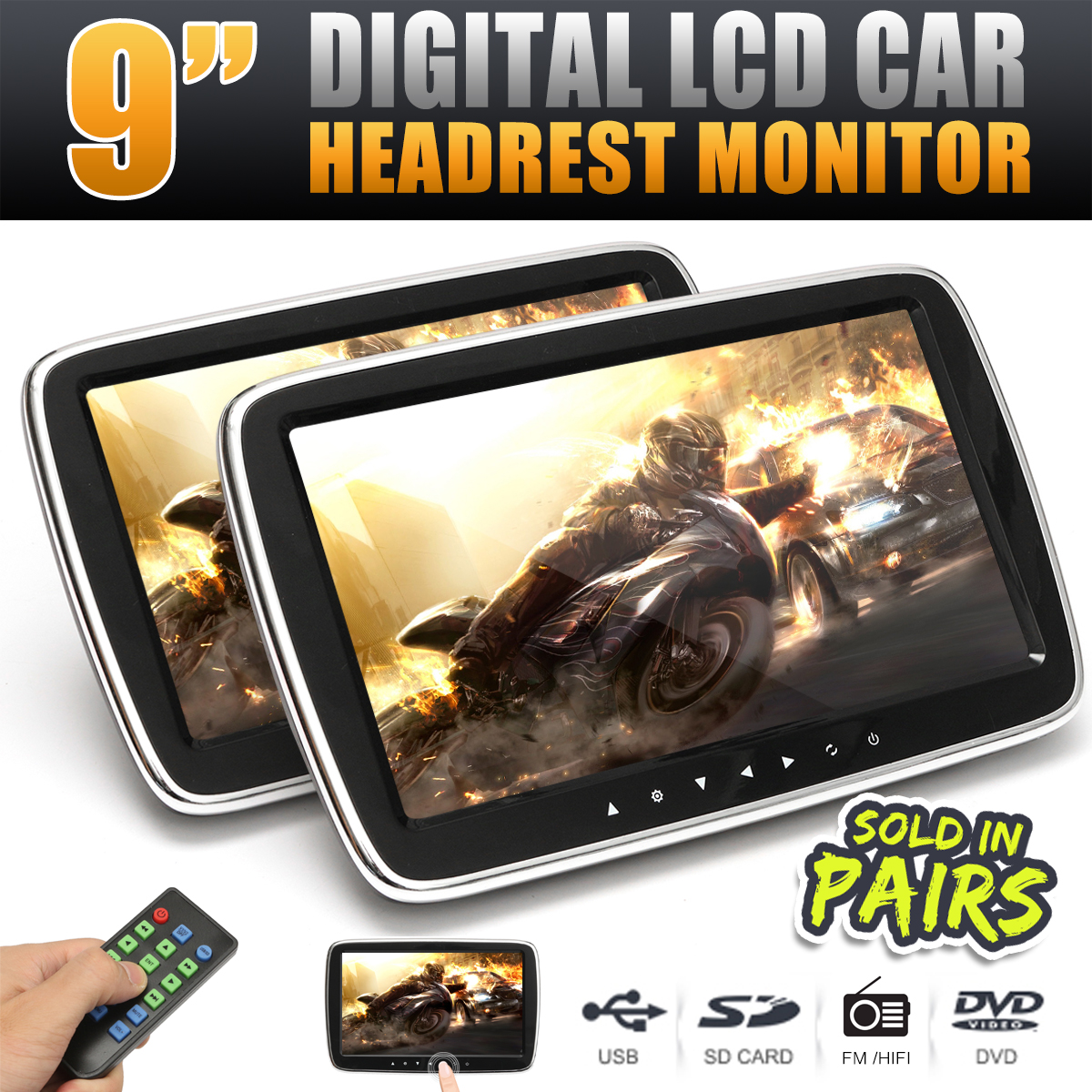 9 Inch HD Digital LCD Screen Car Headrest Monitor Seat Back DVD Video Player MP4 USB SD MP3 FM Speaker Pillow Monitor W/ Remote