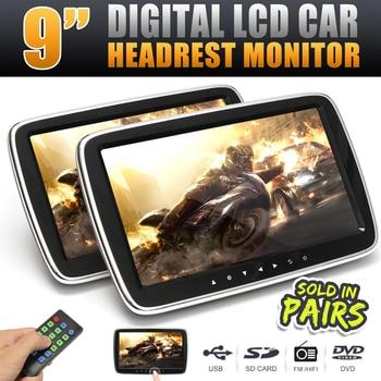 9 Inch HD Digital LCD Screen Car Headrest Monitor Seat Back DVD Video Player MP4 USB SD MP3 FM Speaker Pillow Monitor W/ Remote