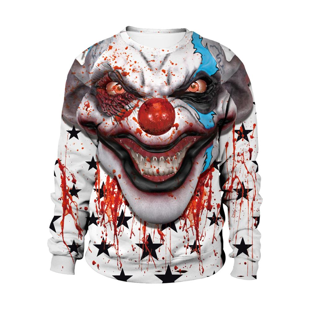 Adult unisex Sweatshirts Halloween 3D Print Bloody clown Long Sleeve couples round neck Sweatshirt Halloween party costume image
