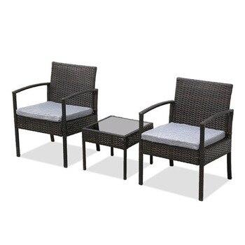 цены 3 Piece Patio Furniture Set Wicker Rattan Outdoor Patio Conversation Set