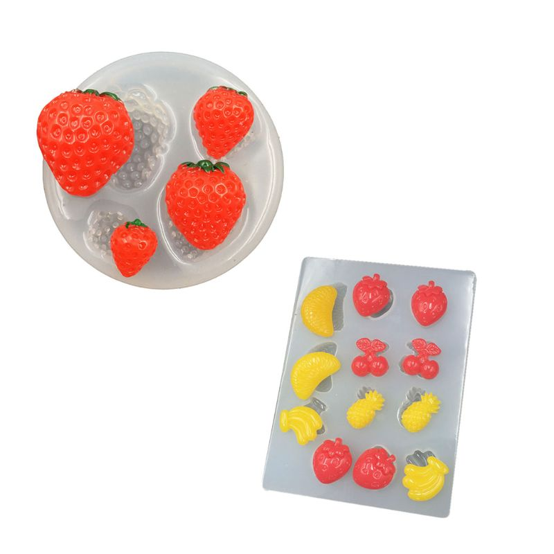 Silicone Mold Handmade Strawberry Banana Pineapple Orange Epoxy Resin Mold Fruit Pendant Mold