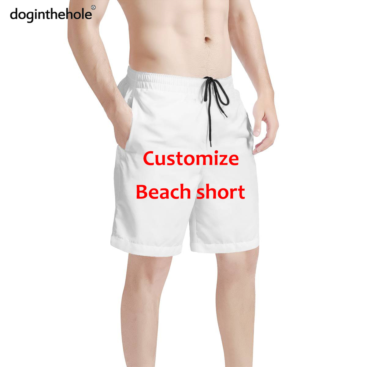 doginthehole Men Summer Beach Swimming Trunk Outdoor Sport Breathable Short Elastic Quick Dry Customize Shorts Home Casual Wear