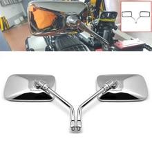 DERI 1 Paar Universal Rechteck Aluminium Moto rcycle Rückspiegel 10mm Chrome retrovisor de moto spiegel moto Für Honda