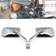 Deri 1 par retângulo universal de alumínio da motocicleta espelhos retrovisores 10mm chrome moto espelho para honda