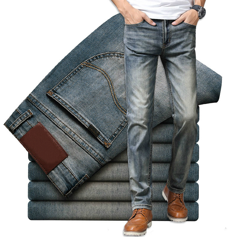 Brand Jeans Retro Nostalgia Straight Denim Jeans Men Fashion Men Long Trousers Loose Trend Business Casual Pants Men Clothes