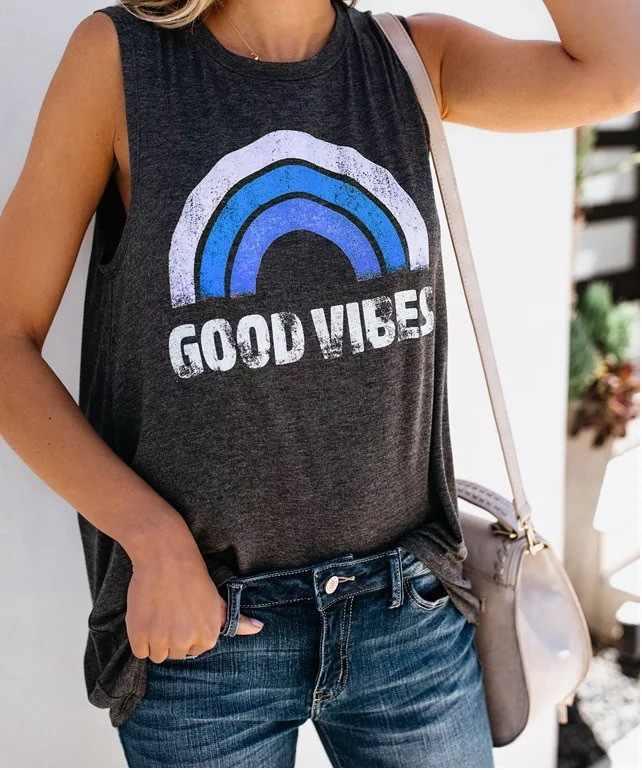 """אופנה קיץ """"טוב VIBES"""" מכתבי הדפסת o-צוואר קשת שרוולים מקרית רחוב loose נשים/ילדה טנק vest למעלה חולצה"""