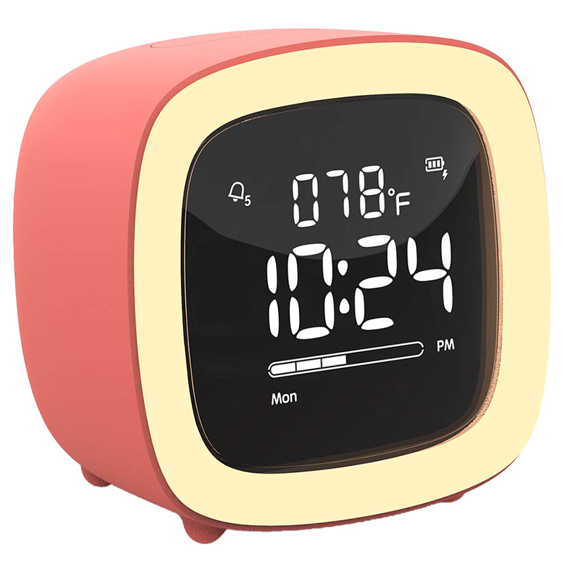 Fashion-Cute-TV Night Light Alarm Clock for Kids, Girls, Teens, Bedroom, Bedside, Desk, Digital Alarm Clock with Rechargeable Ba