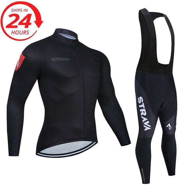 2020 STRAVA longo Ciclismo manga Conjunto camisa calças jardineiras ropa ciclismo roupas MTB da bicicleta da bicicleta de manga Curta camisa dos homens roupas 5