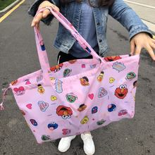 Уличная хозяйственная сумка с рисунком из мультфильма, Экологичная сумка для путешествий, Большая вместительная сумка для хранения, складная сумка на плечо