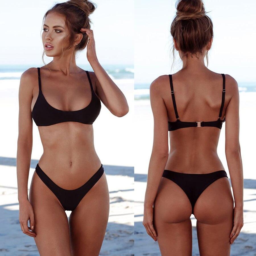 Sexy Bikini Set Swimsuit Solid Micro Bikini Backless Swimwear Low Waist Bathing Suit Triangle Low Waist Trikini Female Biquini