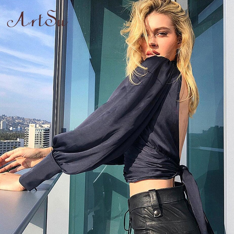 ArtSu Women Sexy Lace Up Bow Satin Blouse Turtleneck Shirt Backless Blouses Blusas Women Puff Sleeve Crop Top Spring ASBL30142 4