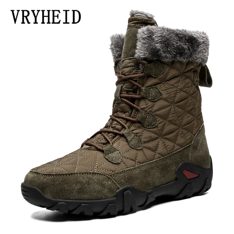 VRYHEID Brand Winter Warm Boots Men Outdoor High-top Plush Fur Snow Boot For Male Round Toe Anti-skid Work Shoes Desert Boots