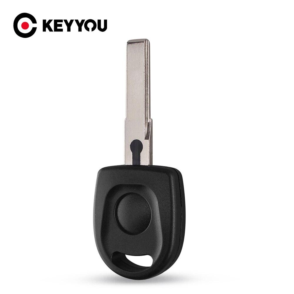 KEYYOU-carcasa transpondedor para llave sin cortar, 50X, 100X, hoja HU66, funda para llave sin grabar para VW, Volkswagen, SKoda