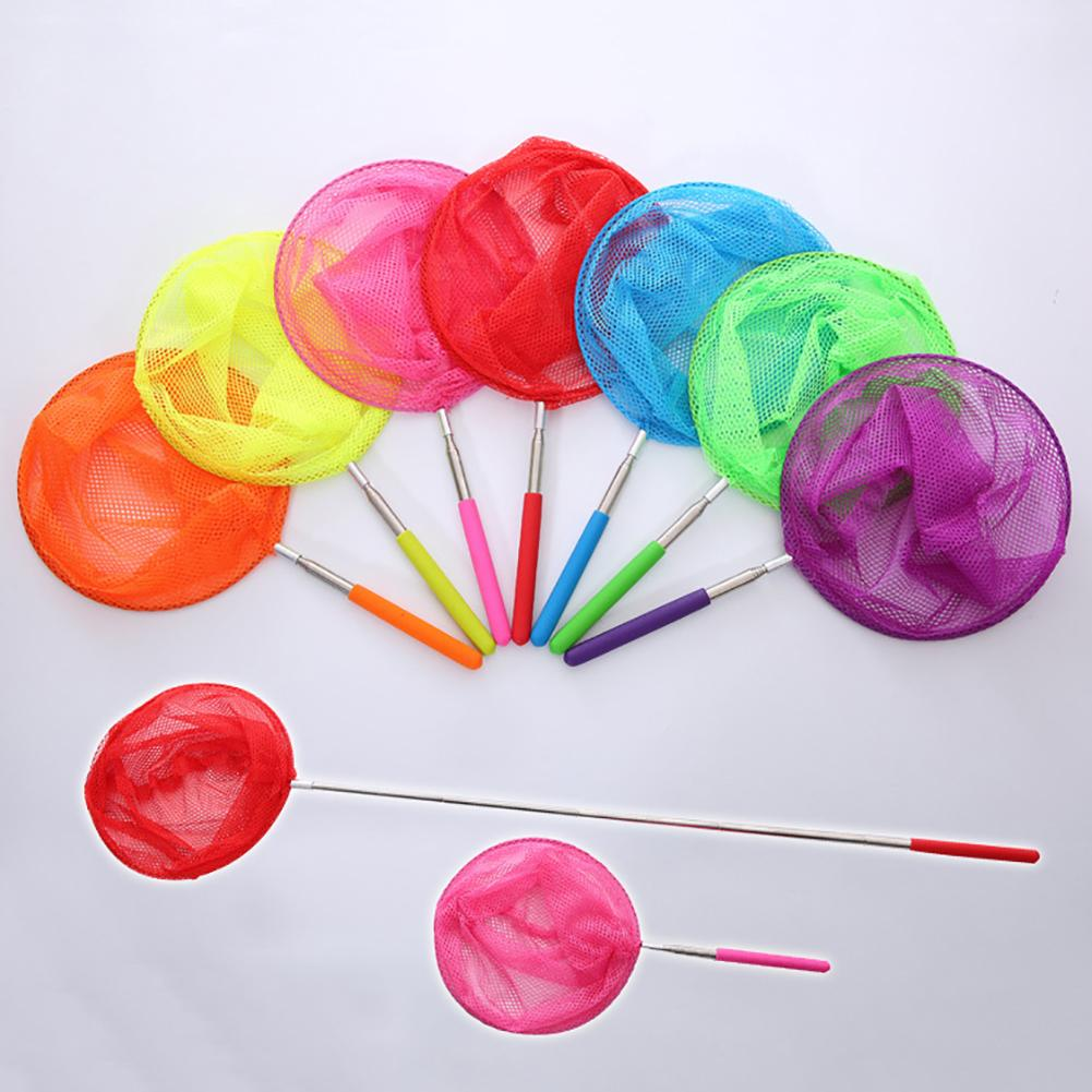 Outdoor Toys Kids Fishing Net Rainbow Telescopic Butterfly Net Insect Catching Nets For Children Catching Insects Bug Small Fish
