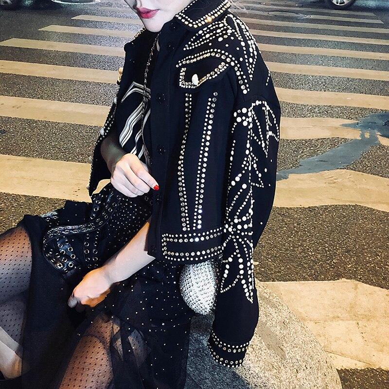 Europäischen Luxus Blatt Diamanten Niet Mantel Frauen 2019 Herbst Mode Streetwear drehen unten Kragen Langarm Schwarz denim jacke - 3