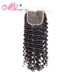 Image 5 - Mshere 4 Stks/partij Peruaanse Diepe Krullend Wave 3 Bundels Met Sluiting Niet Remy Hair Gratis Deel Lace Sluiting Met Menselijk haar Bundels 1B #