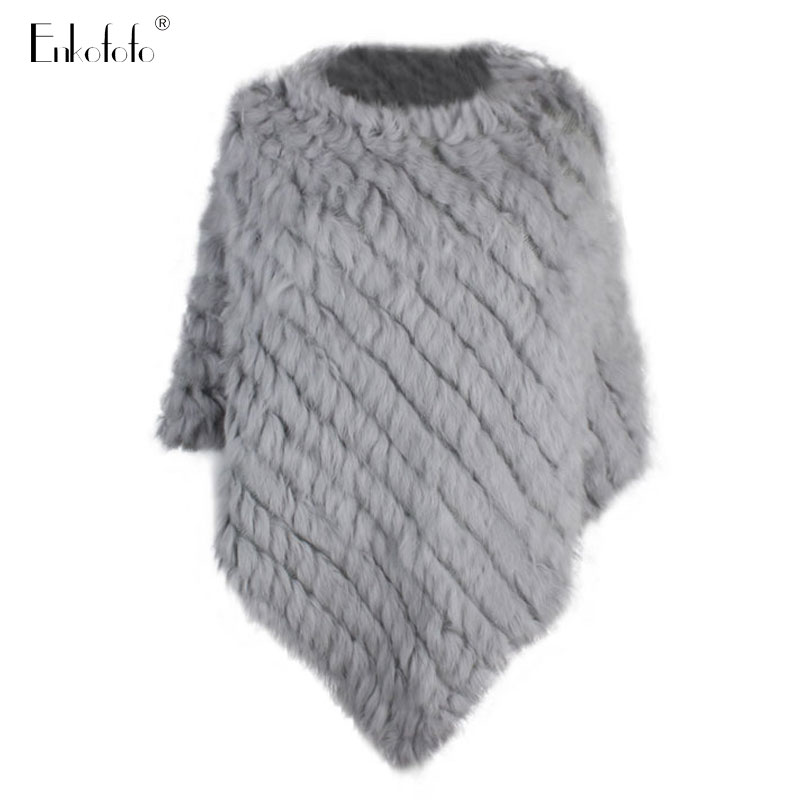Coat Women Shawl Cape Poncho Real-Fur-Coat Knitted Natural Sleeveless Small Fashion O-Neck