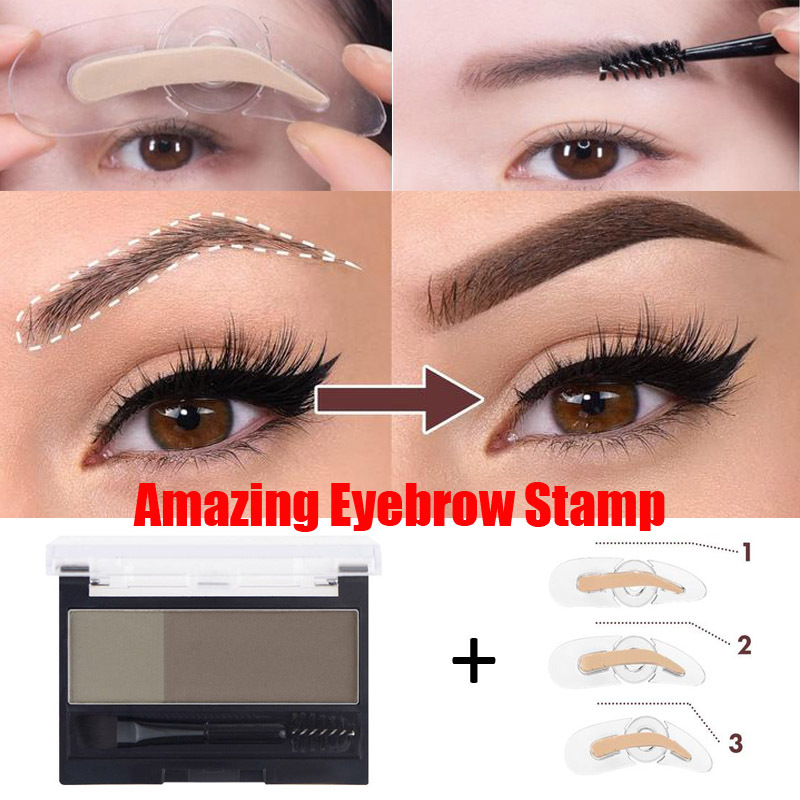 Adjustable Perfect Eyebrow Stamp 2 Colors Eyebrow Enhancers Powder Palette Makeup Waterproof Eyebrow Shadow With Eye Brow Brush