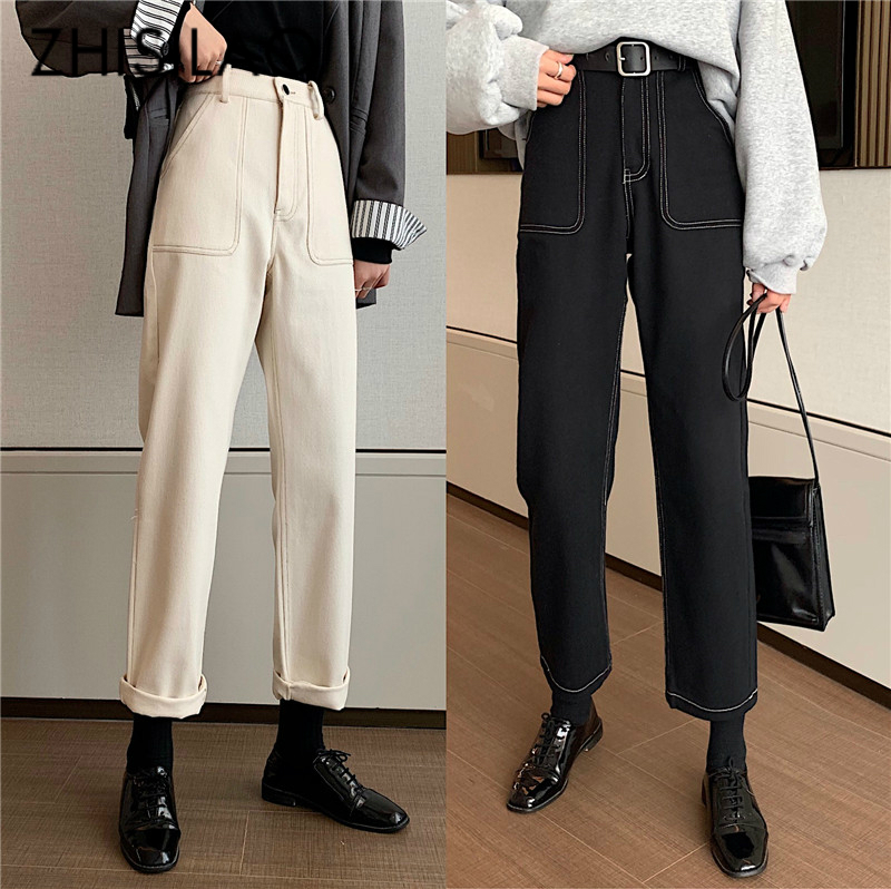 Straight Jeans Women High Waist Black White Jeans Vintage Boyfriend Mom Denim Jeans Pants Femme 2020 Retro Loose Pants