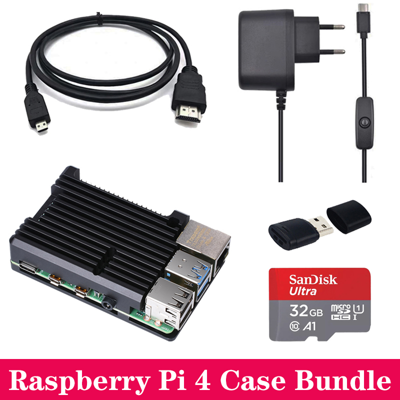 Raspberry Pi 4 Aluminum Case Box Enclosure Shell With Power Supply Adapter Mini HDMI To HDMI Cable For Raspberry Pi 4 Model B 4B