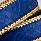 Cinturones de cuero de piel de pitón Real sin hebilla 3,8 CM de ancho de alta calidad de moda tejido trenzado de lujo para hombre cinturones de cintura azul - 3