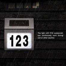 Número da casa ao ar livre conduziu a placa de porta luz solar endereço e letras doorplate à prova dwaterproof água