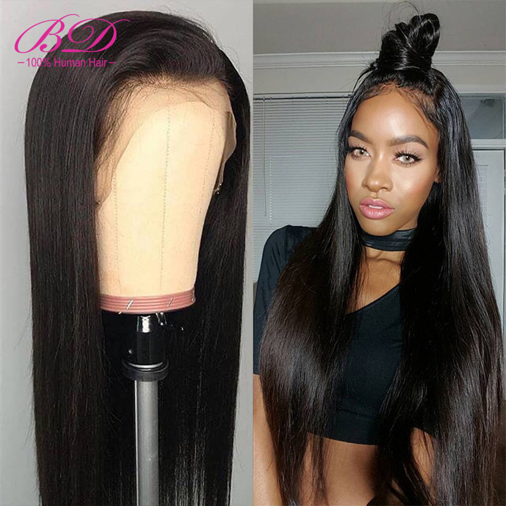 BD Hair Straight 360 Lace Frontal Wigs Indian Remy Hair Lace Front Human Hair Wigs Pre Plucked With Baby Hair 13X6 Deep Part Wig