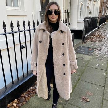TOPFUR Real Fur Coat Women Winter Sheepskin Coat With Belt Lapel Collar 2019 New Genuine Leather Coat Gray Woolen Jacket Outwear notch lapel patch pocket back vent woolen coat