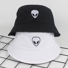 Bucket-Hat Alien Panama-Cap Sun-Fishing-Hat Black White Beach Women Summer Unisex Solid