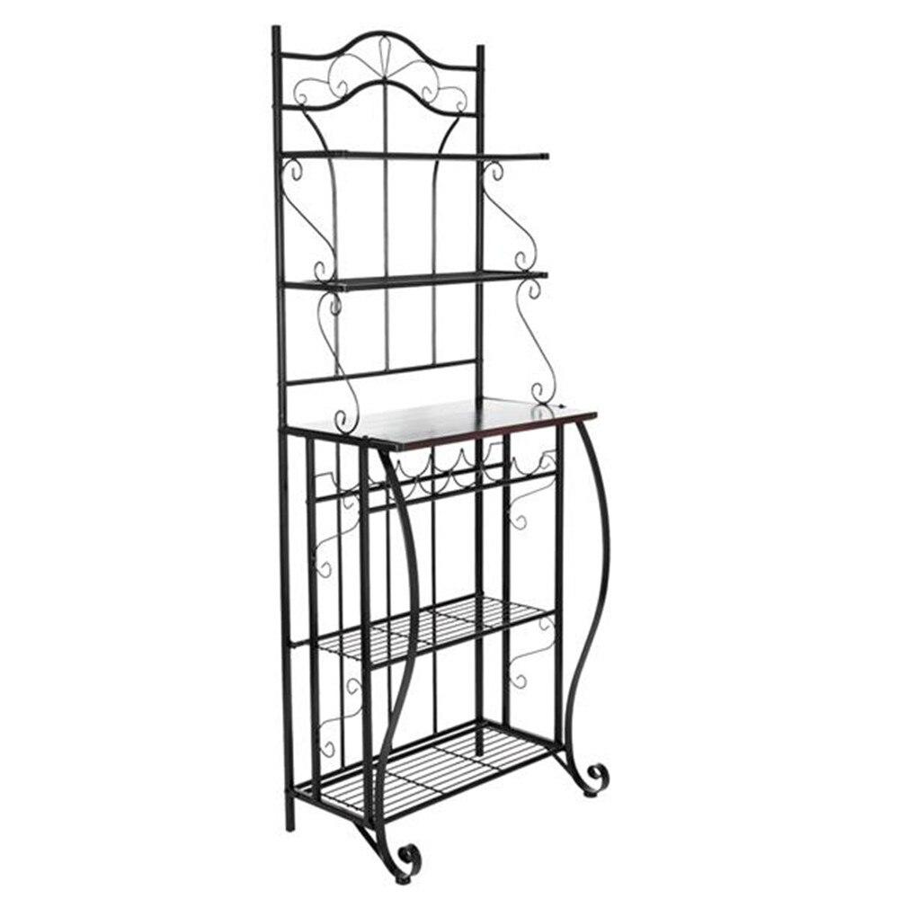 5 tier metal cozinha rack de metal cozinha padeiros decoração para prateleira de armazenamento de cozinha para sala de estar - 3