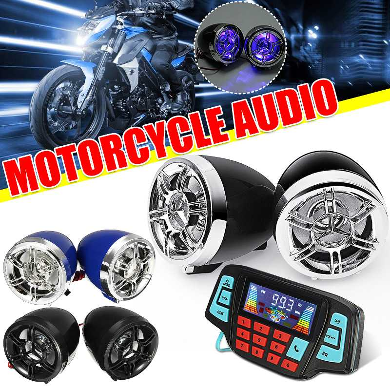 Bluetooth Motorcycle Studio Audio Sound System Speakers FM Radio MP3 Music Player Scooter ATV Remote Control Alarm Speaker