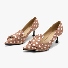 43 large size banquet fashion pointed wave point high heels shallow mouth wild non-slip thin cat heel single shoes women