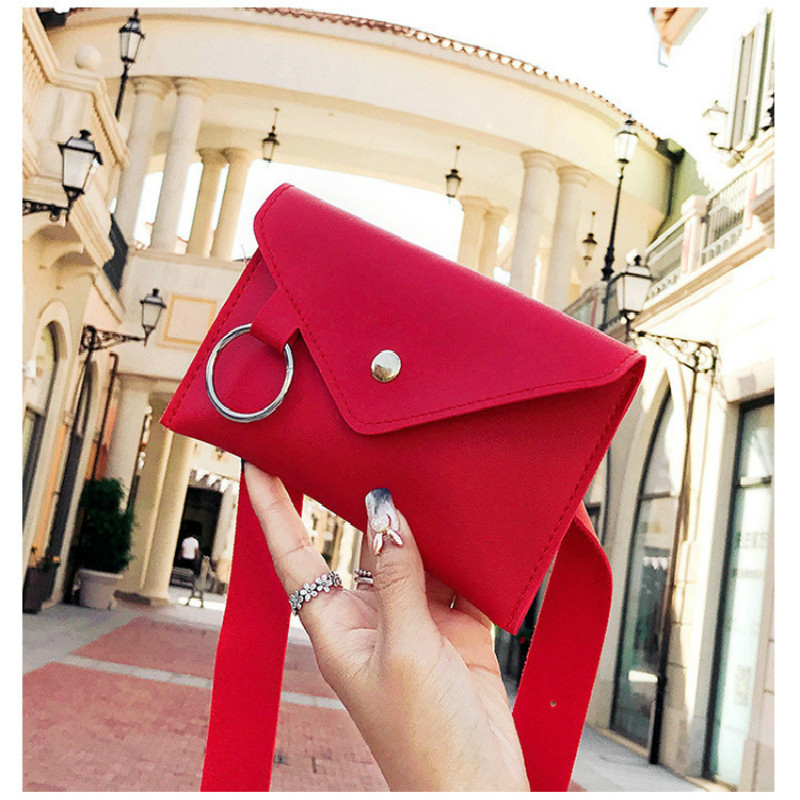 2019 Women Belt Bag Leather Waist Bag Fashion Women's Pure Color Ring PU Messenger Shoulder Chest Pochete Homem