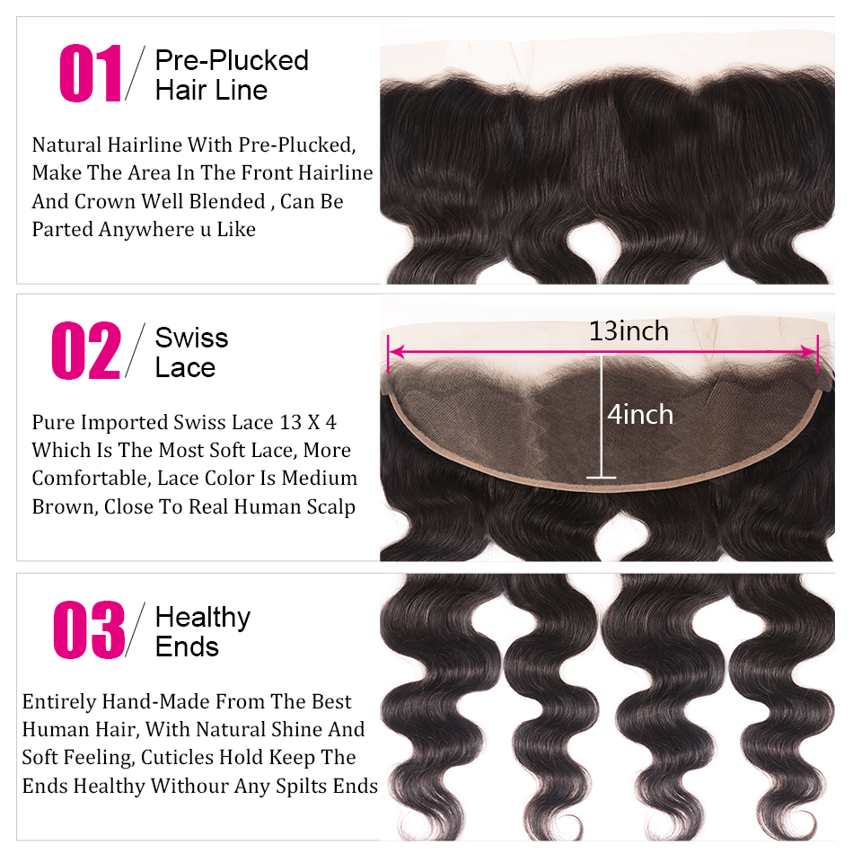 """Image 3 - UNice Hair Icenu Remy Hair Series Brazilian Body Wave Lace Frontal Free Part Ear to Ear Human Hair Lace Closure Size 13""""x4""""-in Closures from Hair Extensions & Wigs"""