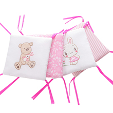 6pcs Non-removable Machine Wash Bed Baby Crib Bumper Guard Pad Breathable Solid Thicken Liner Protector Safety For Boy Girl