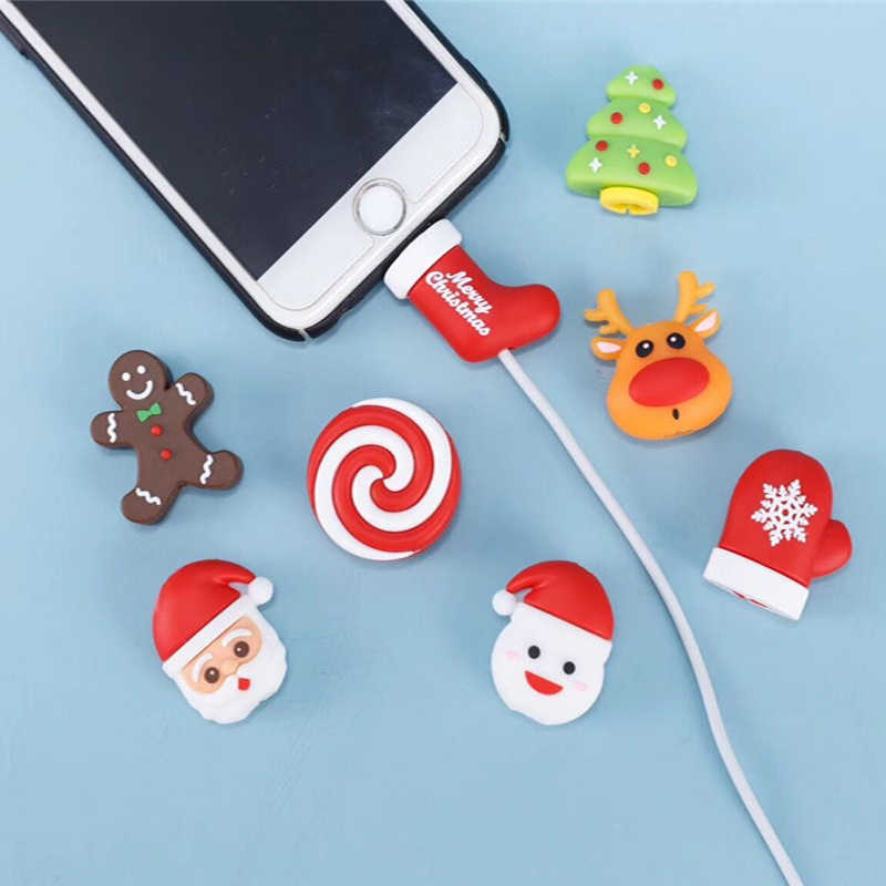 Lovely Bite Animal Cable Protector Winder for iPhone 11 Pro Max X XS XR USB Cable Organizer Cartoon Santa Claus Christmas Gift
