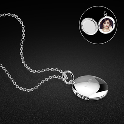 Female 925 sterling silver necklace creative round box pendant design can be placed photos ladies popular jewelry Free shipping