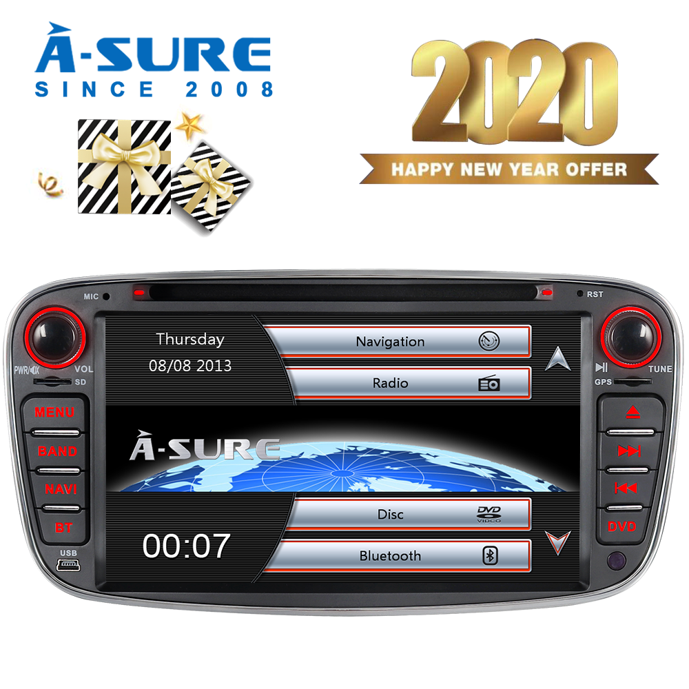 A-Sure 7 Car Auto Radio GPS Player DVD Navigation For Ford Mondeo Focus MK2 Galaxy S-Max C-Max Kuga USB Port RDS BT Mirror Link