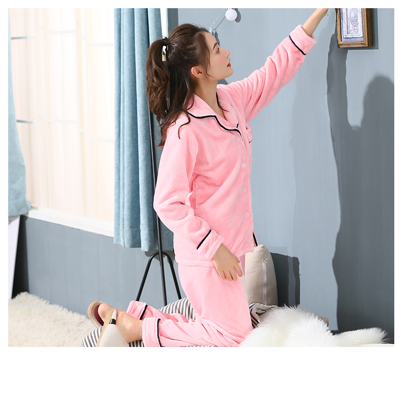Plus Size 3XL 4XL 5XL Pyjamas women winter new Korean kawaii pink coral fleece warm pajama set thick flannel pijama home service 190