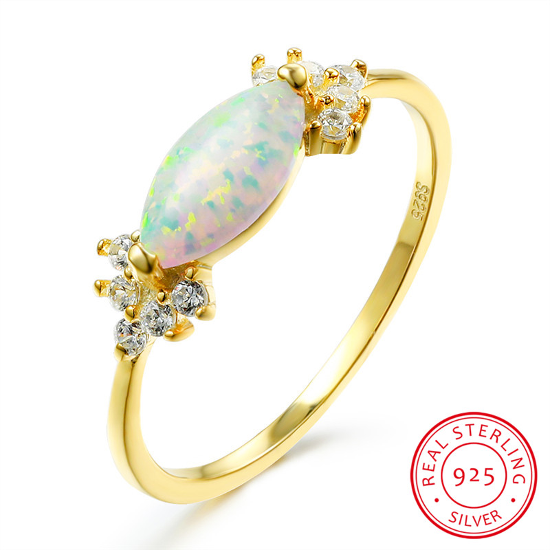 Unique Female White Fire Opal Ring Minimalist Silver Yellow Gold Water Drop Engagement Ring Promise Love Wedding Rings For Women