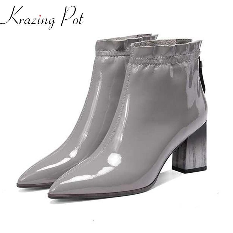 Krazing pot/плиссированные ботинки «Челси» из лакированной коровьей кожи с оборками на молнии; Зимние ботильоны с острым носком на высоком каблу