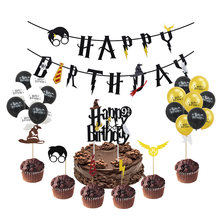 漫画のテーマパーティーバナーケーキトッパーハッピーバースデー花輪少年誕生日装飾ホオジロベビーシャワーの子供のパーティーの好意