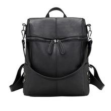 SHUJIN Women Casual Large Capacity Shoulder Bags Vintage Women Backpack Leather Pu School Backpacks For Teenage Girls Travel Bag