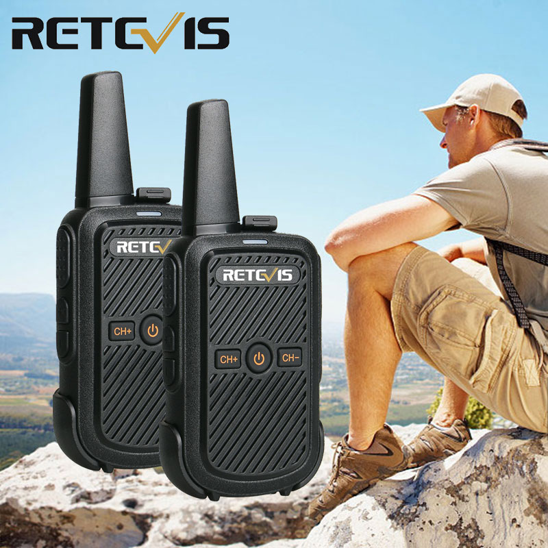 Retevis RT15 Rechargable Walkie Talkie 2pcs Mini Radio Station Portable Walkie-Talkie UHF USB Charging with Programming Cable image