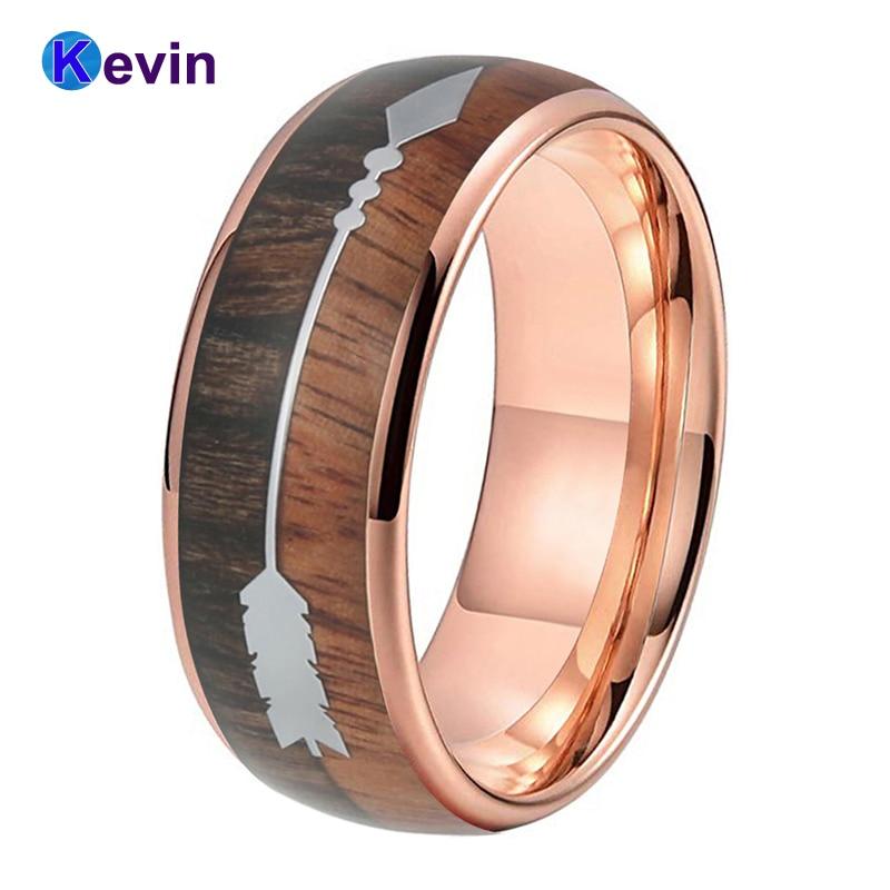 Купить обручальное кольцо из вольфрама цвета розового золота для мужчин