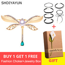 SHDIYAYUN 2019 New Pearl Brooch Vintage Dragonfly Brooch For Women Gold Brooch Pins Natural Freshwater Pearl Jewelry Decoration(China)