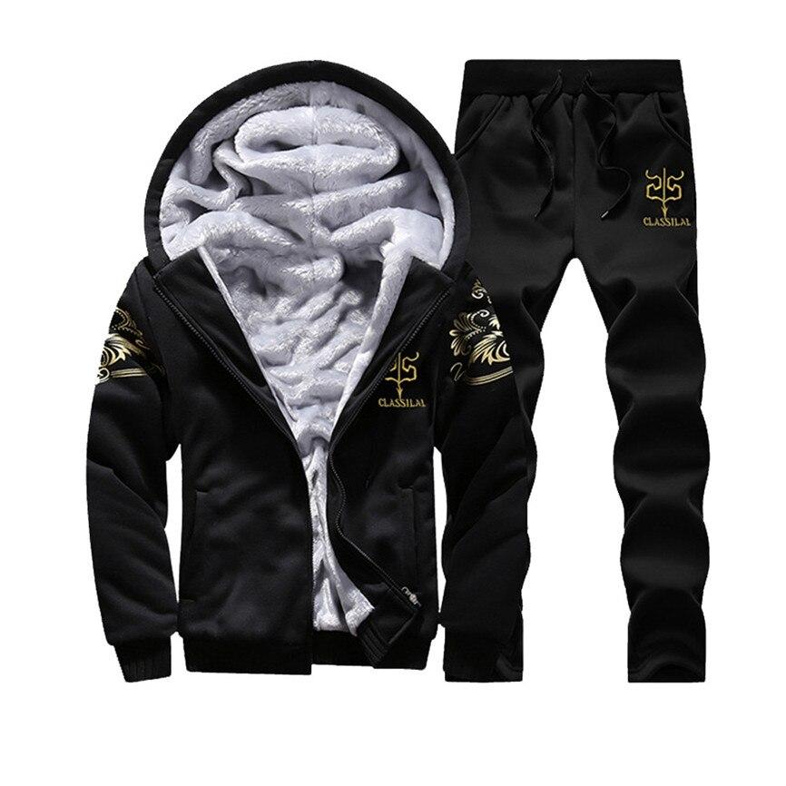 Man Jacket Outdoor Mens Hoodie Winter Warm Fleece Zipper Sweater Jacket Outwear Coat Pants Sets Men's Jacket Hooded Sportswear