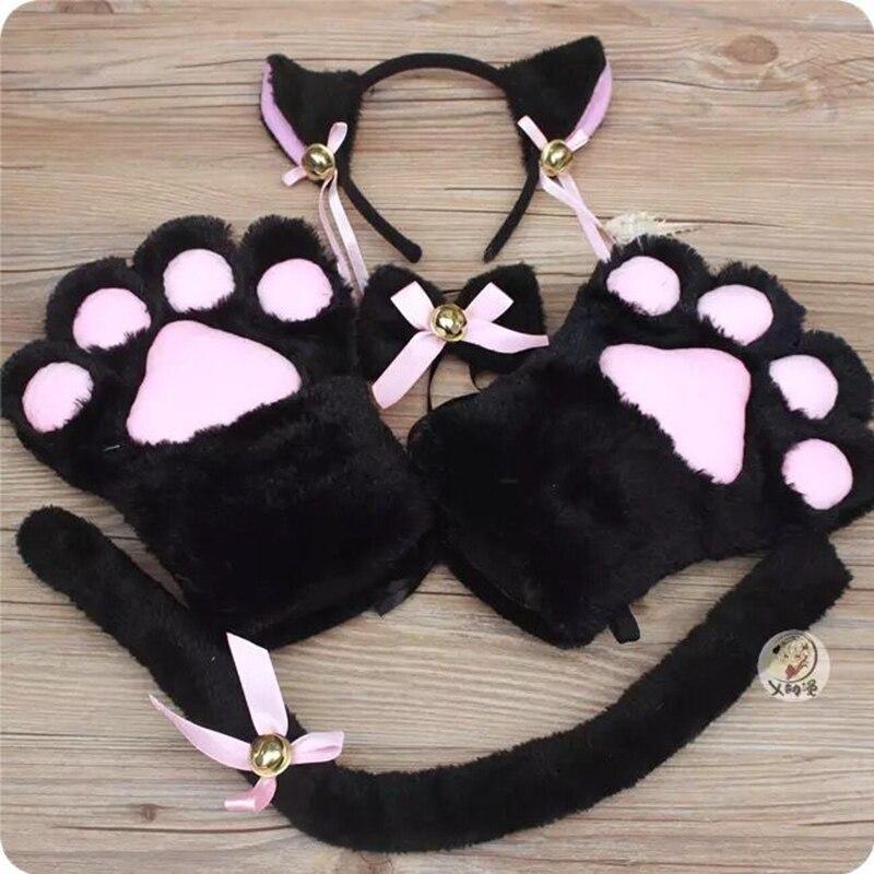 Anime Cosplay Costume Accessory Hairwear Hairbands With Cat Ears Neko Fantasy Set Maid Lolita Plush Glove Tail Paw Ear New