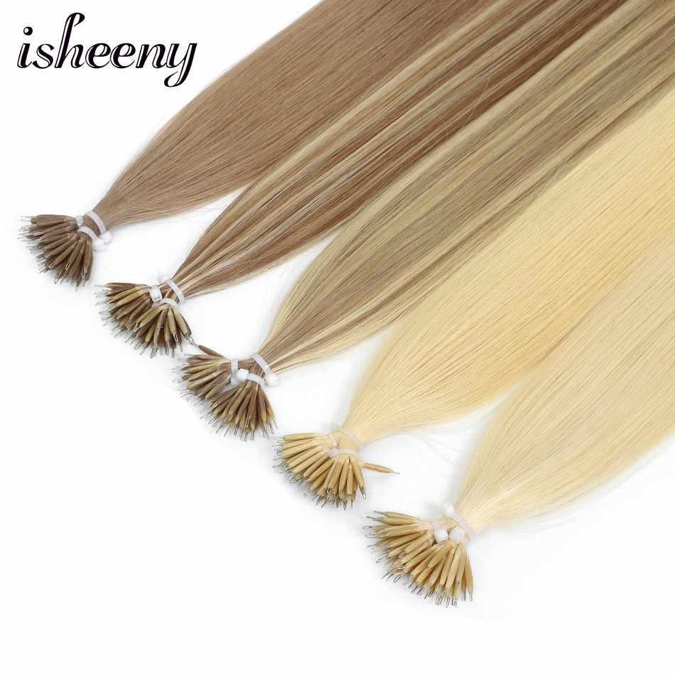 """Isheeny 14 """"18"""" 22 """"Remy boncuklu postiş saç ekleme Nano Halka Linkler Insan Saçı Düz 9 Renkler Sarışın avrupa Saç"""